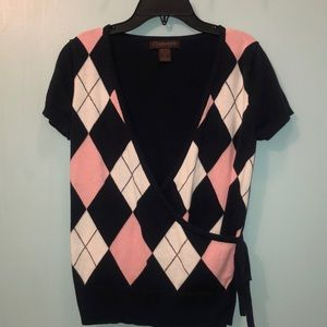 Chadwick's Navy and Pink Sweater Top